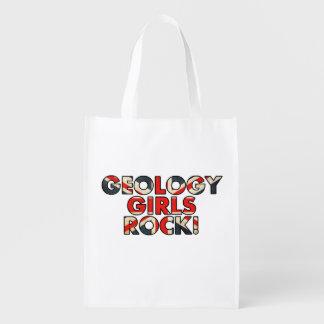 ¡Roca de los chicas de la geología! (Bandera Bolsa Para La Compra