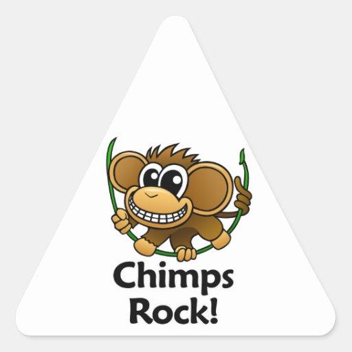 ¡Roca de los chimpancés! Calcomanías De Triangulos Personalizadas