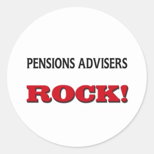 Roca de los consejeros de las pensiones pegatina redonda