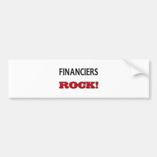 Roca de los financieros etiqueta de parachoque
