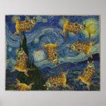 """Roca de los gatos en la noche """"estrellada """" de Van Impresiones"""