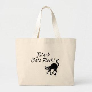 Roca de los gatos negros bolsa tela grande