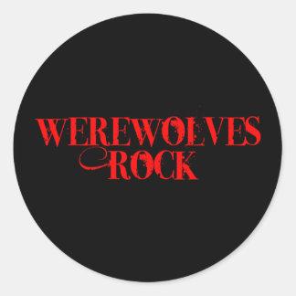 Roca de los hombres lobos pegatina redonda