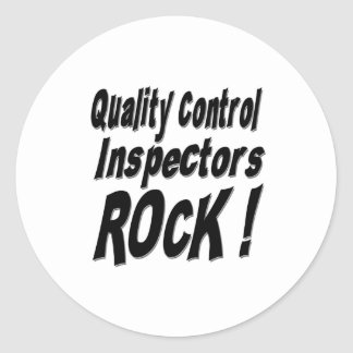 ¡Roca de los inspectores de control de calidad! Pegatina Redonda