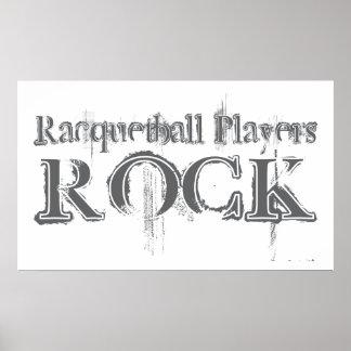 Roca de los jugadores del Racquetball Poster