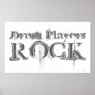 Roca de los jugadores del tambor posters