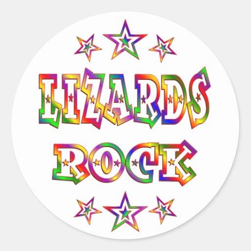 Roca de los lagartos de la diversión etiquetas redondas