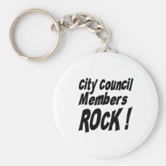 ¡Roca de los miembros del Consejo de la ciudad! Llavero Redondo Tipo Pin