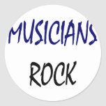 Roca de los músicos pegatina redonda