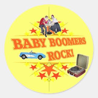 Roca de los nacidos en el baby boomes pegatina redonda
