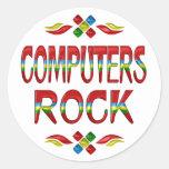 Roca de los ordenadores pegatina redonda
