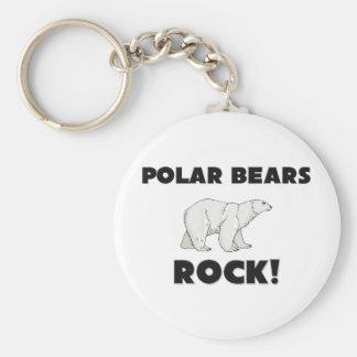 Roca de los osos polares llavero redondo tipo pin