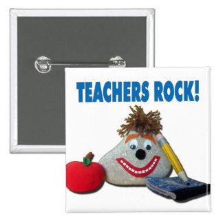 ¡Roca de los profesores! Botón blanco Pin Cuadrado
