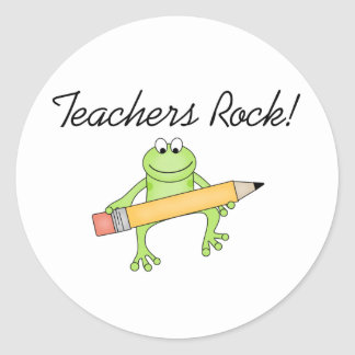 Roca de los profesores de la rana etiquetas redondas