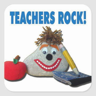 ¡Roca de los profesores! Pegatina blanco