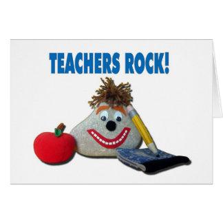 ¡Roca de los profesores! Tarjeta de nota blanca