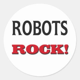 Roca de los robots pegatinas redondas