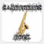 Roca de los saxofones pegatinas cuadradas personalizadas
