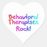 Roca de los terapeutas de Bahaviorial Pegatinas Corazon Personalizadas