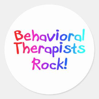 Roca de los terapeutas de Bahaviorial Pegatina Redonda