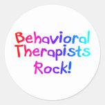 Roca de los terapeutas del ABA (brillante) Pegatina Redonda