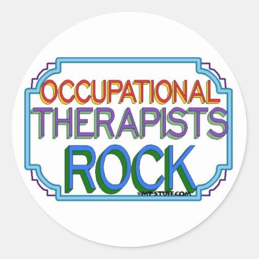 Roca de los terapeutas profesionales pegatina redonda