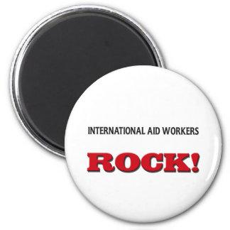 Roca de los trabajadores de ayuda internacional imán para frigorífico