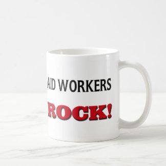 Roca de los trabajadores de ayuda tazas