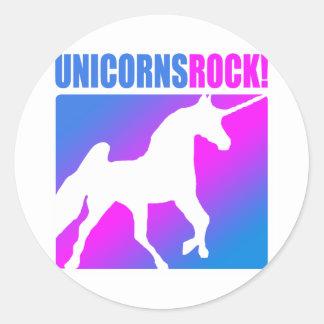 ¡Roca de los unicornios! Pegatina Redonda