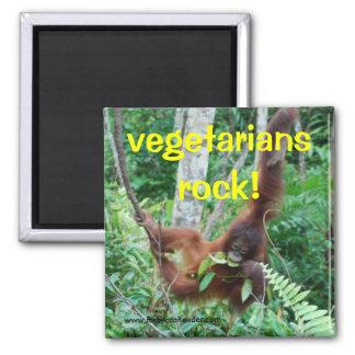 ¡Roca de los vegetarianos del primate! Imán Cuadrado