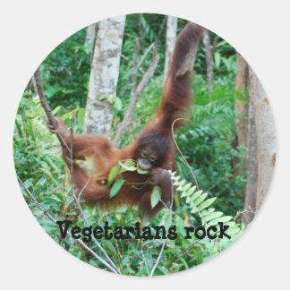 ¡Roca de los vegetarianos del primate! Pegatina Redonda