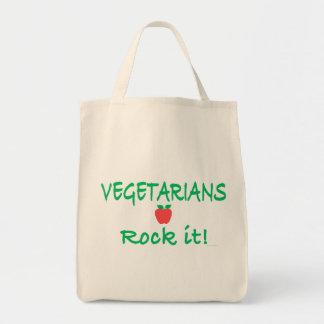 ¡Roca de los vegetarianos él! Tote del Bolsas Lienzo