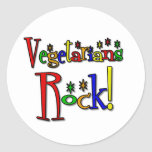 Roca de los vegetarianos (estilo retro) pegatina redonda
