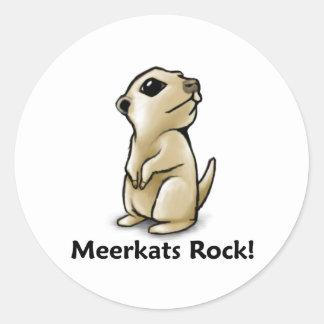 ¡Roca de Meerkats! Pegatina Redonda