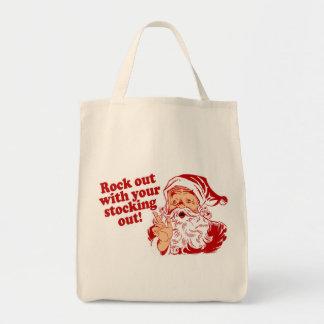 Roca de Papá Noel hacia fuera Bolsas De Mano