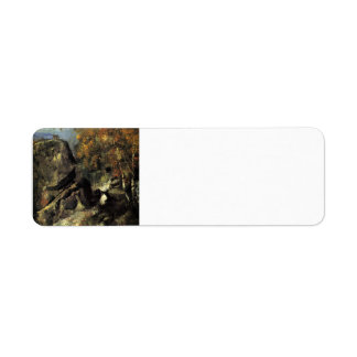 Roca de Paul Cezanne- en el bosque de Fontainbleau Etiqueta De Remite