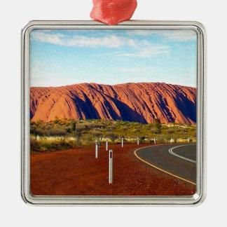 Roca de Uluru/de Ayers - Australia Adorno Navideño Cuadrado De Metal