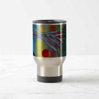 roca del árbol spacepainting imagen colorida taza de viaje de acero inoxidable