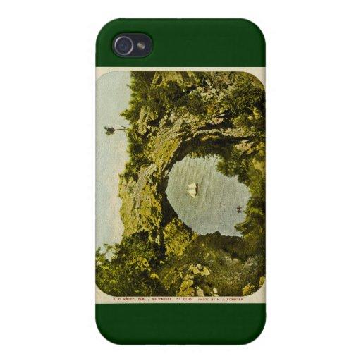 Roca del arco, vintage de la isla de Mackinac iPhone 4 Fundas
