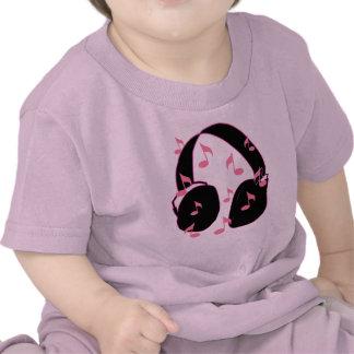 ¡Roca del bebé!  Auriculares con rosa de las notas Camiseta
