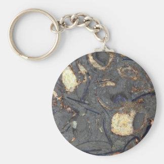 Roca del carbonato con los fósiles llavero redondo tipo pin