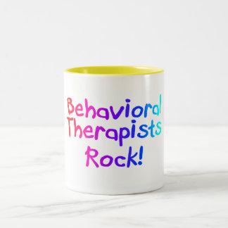 Roca del comportamiento de los terapeutas taza de dos tonos