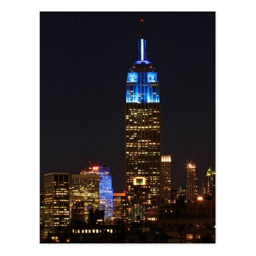 Roca del Empire State Building 30 en el azul para  Postales