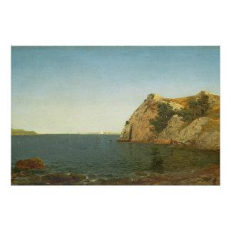Roca del faro, puerto de Newport, 1857