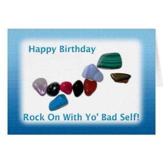 Roca del feliz cumpleaños encendido tarjeta de felicitación