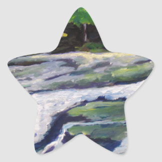 Roca del río calcomanía cuadrada personalizada
