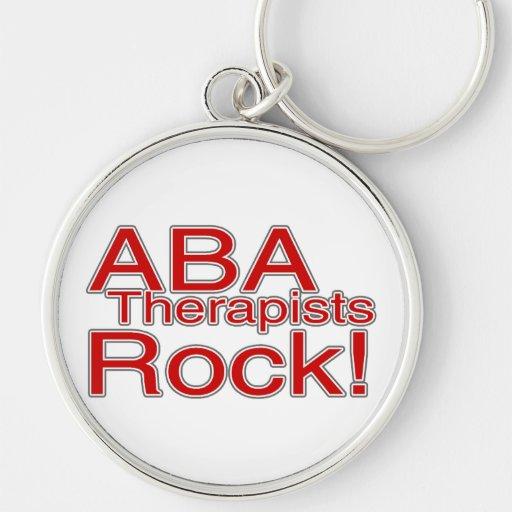 Roca del terapeuta del ABA Llavero Redondo Plateado