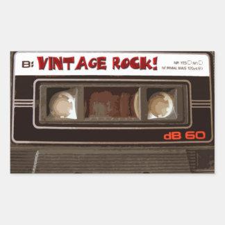 Roca del vintage pegatina rectangular