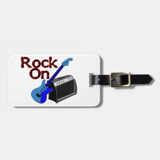 Roca en la guitarra y el amperio etiquetas bolsa