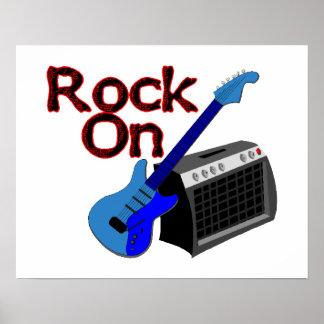 Roca en la guitarra y el amperio poster